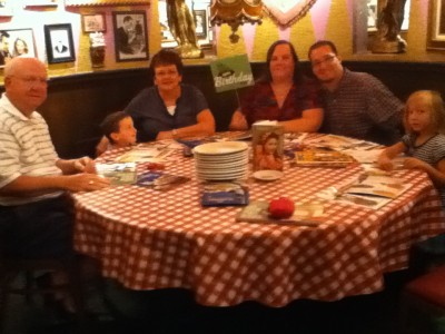 Birthday lunch at Buca di Beppo sans my sister who is taking the picture