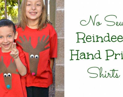 No Sew Christmas Shirt for Kids: Reindeer Hand Print