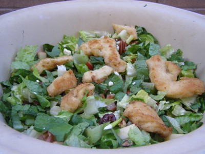 Autumn Chopped Salad with Fried Chicken Strips