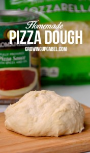 Just a few pantry ingredients will get this basic pizza dough recipe ready for baking in less than 10 minutes! | GrowingUpGabel.com
