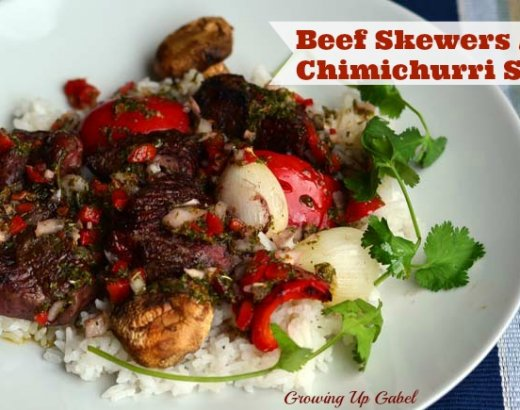 Grilling Beef Skewers with Chimichurri Sauce
