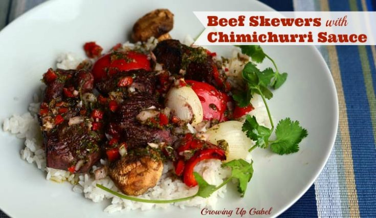 Argentine Beef Skewers with Chimichurri Sauce