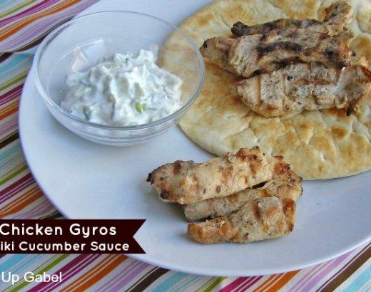 Chicken Gyros with Tzatiki Cucumber Sauce
