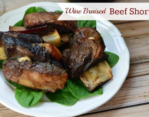 Wine Braised Slow Cooker Beef Short Ribs