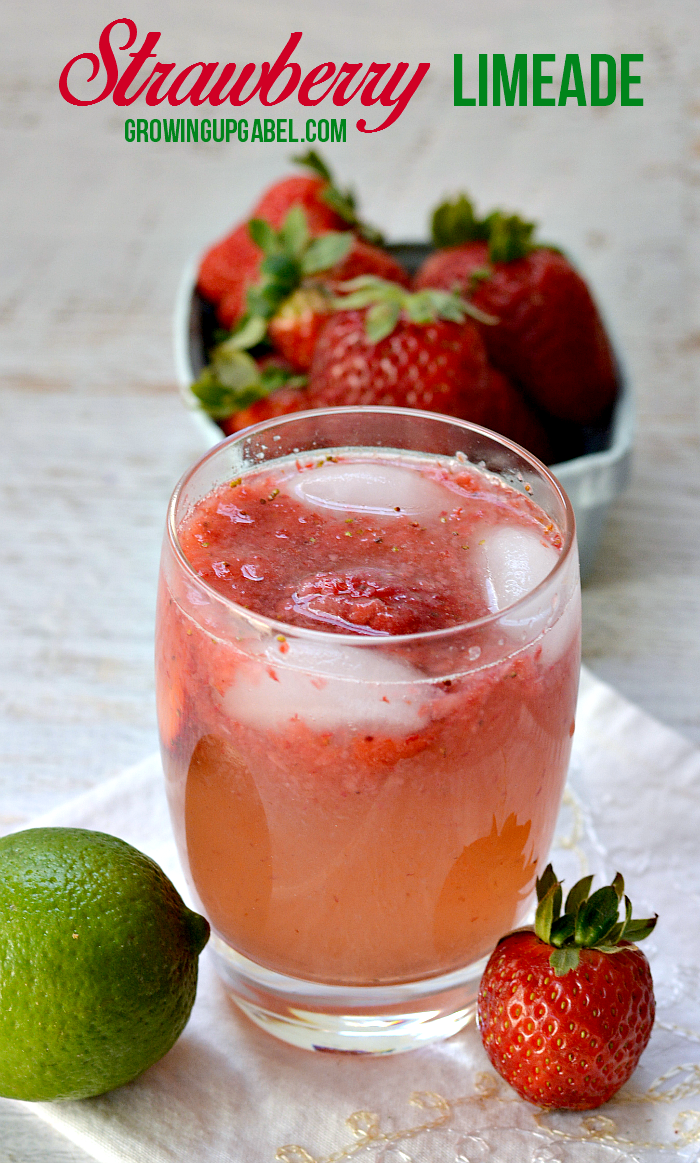 A quick and easy limeade recipe using fresh strawberries and lime essential oil for a refreshing summer drink!