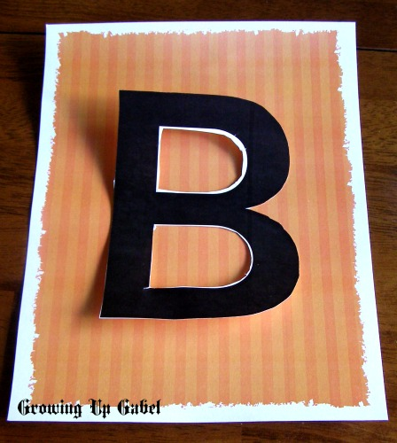 Homemade Letter Stenchil on Halloween printable paper
