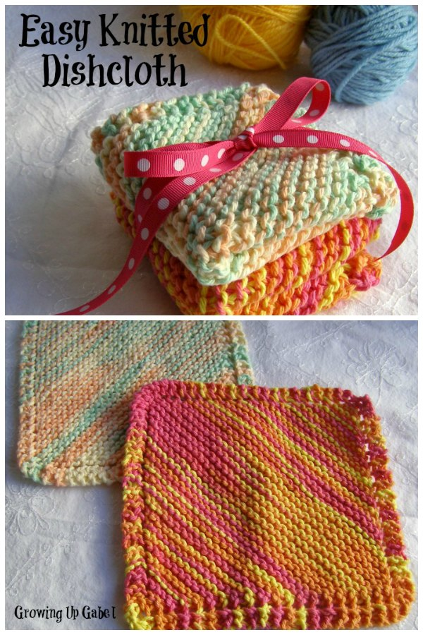 Easy Knit Dishcloth | Growing Up Gabel