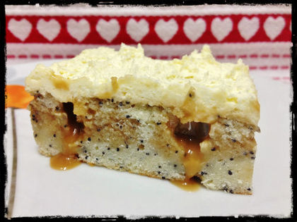 White Chocolate Poppy Seed Caramel Poke Cake