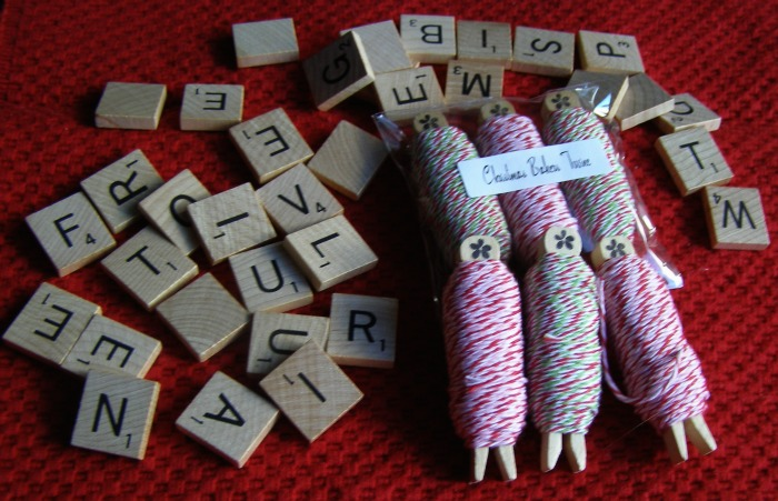 Bakers Twine and Scrabble Tiles from Tophatter