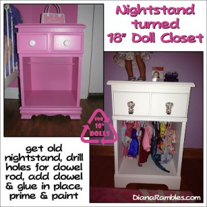 Night Stand Turned into an 18 inch Doll Closet