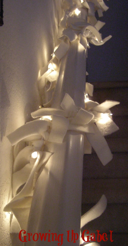 Easy Lighted Garland made with felt strips and Christmas lights