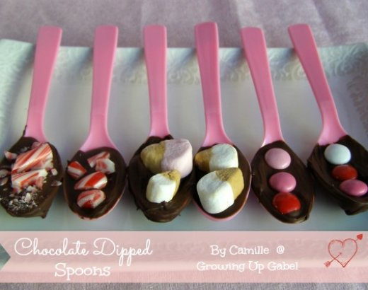 Valentine's Day Chocolate Dipped Spoons