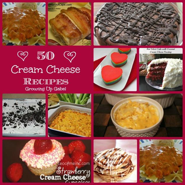 50 Cream Cheese Recipes at growingupgabel.com @thegabels #recipes