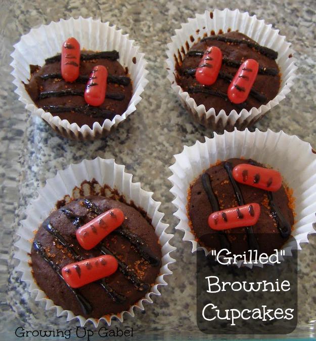 Grilled Brownie Cupcakes from growingupgabel.com @thegabels #recipe #dessert