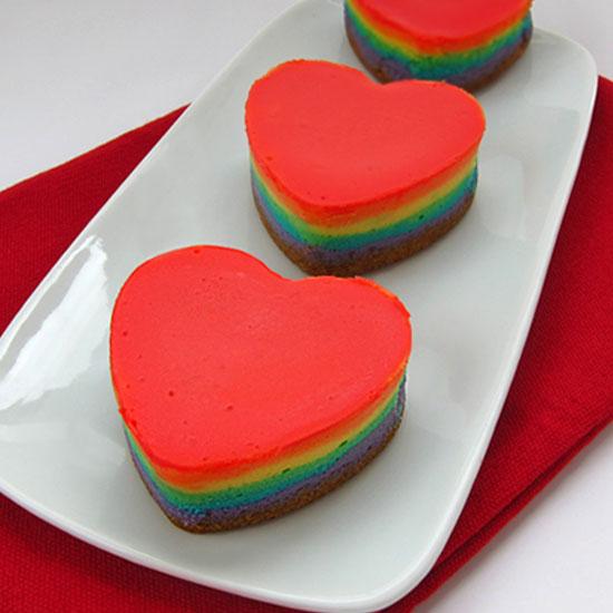 Rainbow Cheesecake Hearts: Iron Chef Mom Cream Cheese Battle