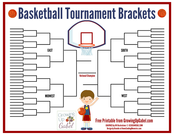 Free Printable: Basketball Tournament Brackets from http://growingupgabel.com @thegabels