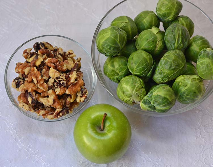 Maple Roasted Brussel Sprouts with Walnuts and Apples