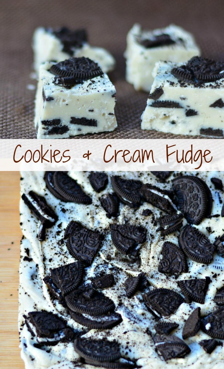 Cookies and Cream Fudge prepared and shown cut into pieces as well as whole batch sitting on a cutting board