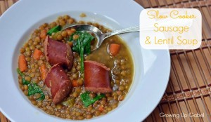 Slow Cooker Sausage and Lentil Soup