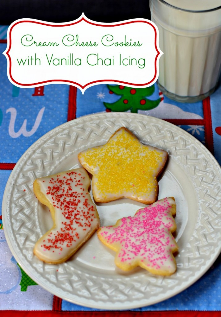 Cream Cheese Christmas Cookies with Vanilla Chai Tea Icing