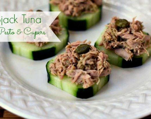 Skipjack Tuna with Pesto and Capers