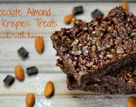 Chocolate Almond Rice Krispies Treats Made with Honey