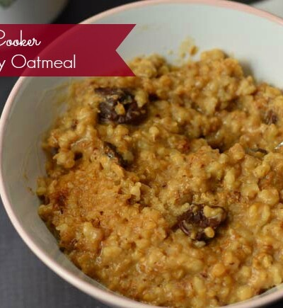 Steel cut oats are cooked in a slow cooker overnight for a delicious hearty breakfast that's ready when you wake up!