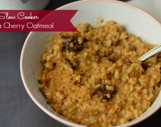 Slow Cooker Cherry Vanilla Overnight Steel Cut Oatmeal