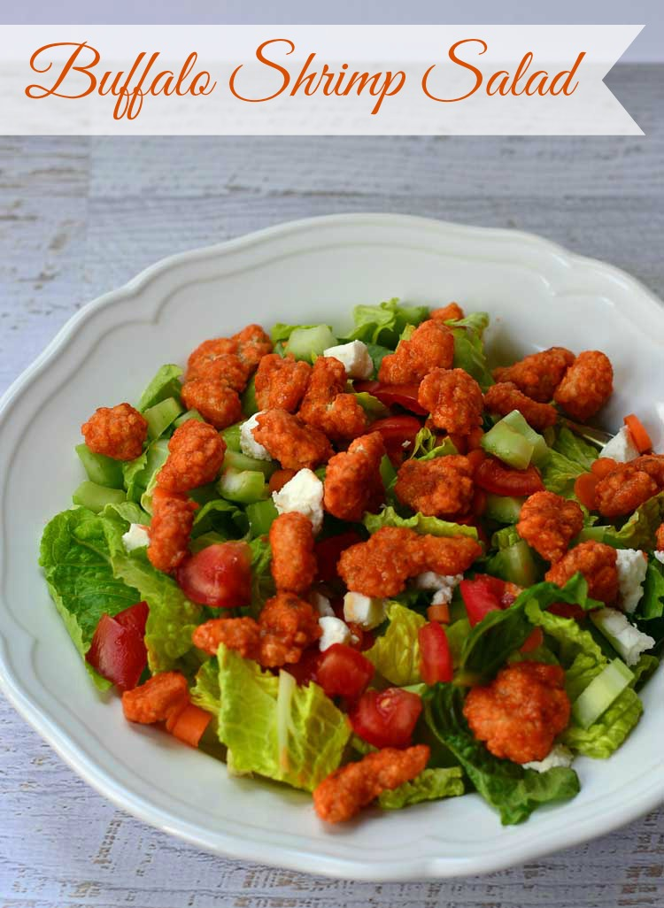 Toss fried shrimp in buffalo sauce and add to the top of a salad for buffalo shrimp salad! A quick and easy dinner or lunch!