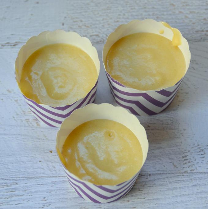 Lemon cupcake batter in cupcake liners