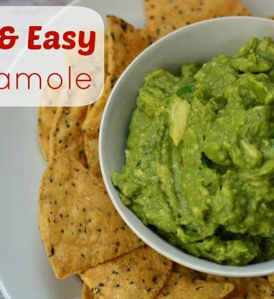The best homemade 5 ingredient quick and easy guacamole recipe!It's the perfect healthy appetizer dip!