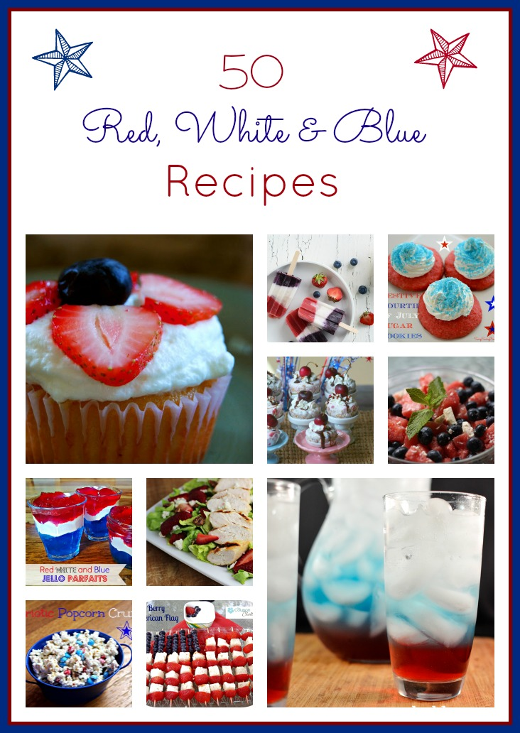 Celebrate independence with red white and blue food! These 4th of July recipes include ideas for everything from desserts to savory snacks! Great for Labor Day and Memorial Day, too.
