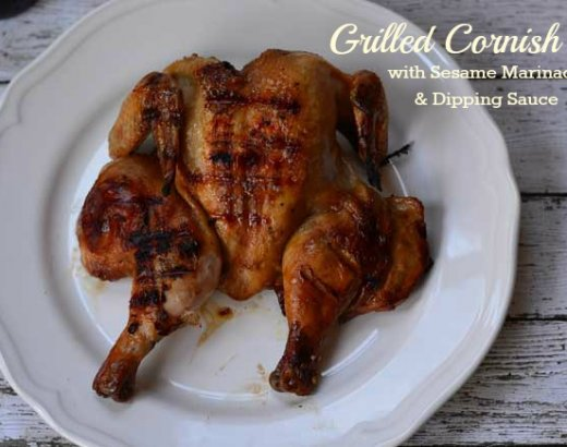 Grilled Cornish Hens with Sesame Chicken Marinade and Dipping Sauce