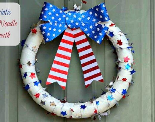 Pool Noodle Patriotic Wreath