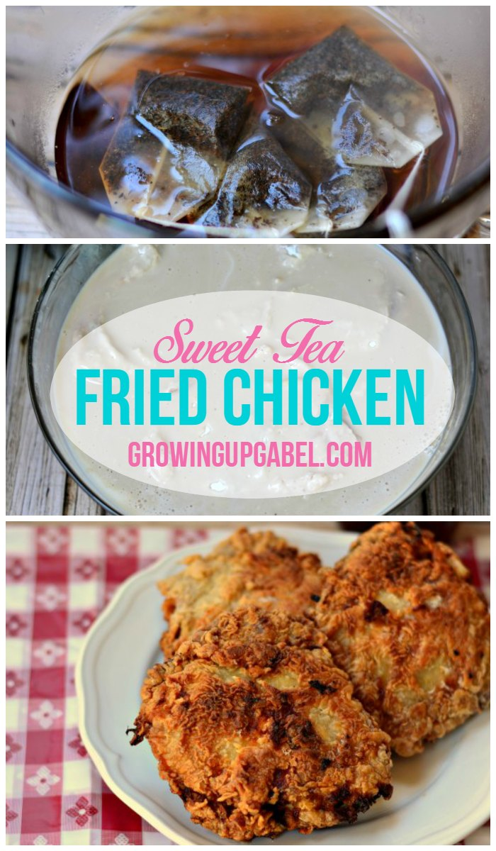 Make southern fried chicken with a sweet tea brine! Pieces of bone in or boneless chicken are marinated in a sweet tea and buttermilk brine and then fried up crispy and crunchy.  Sweet tea fried chicken recipe is a delicious summer picnic recipe.