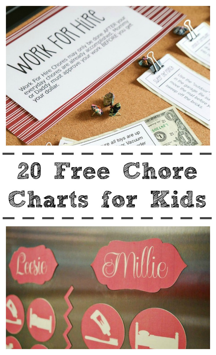 20 free chore charts for kids via growingupgabel.com