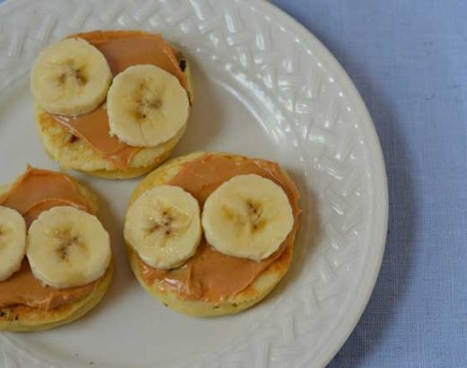 Mini Elvis Pancakes with Peanut Butter, Bananas, and Chocolate Chips
