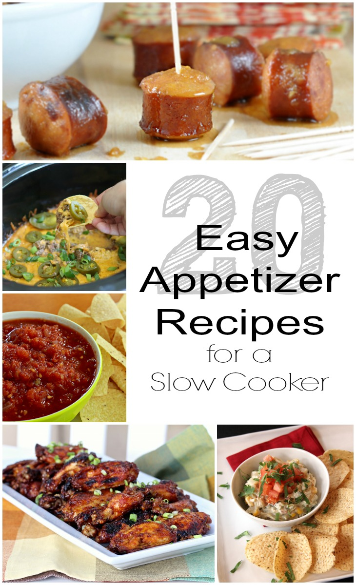20 Easy appetizer recipes for a slow cooker via GrowingUpGabel.com