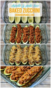 Taco baked zucchini recipe is stuffed with a ground turkey taco meat and topped with cheese. Perfect for an easy weeknight dinner! |GrowingUpGabel.com