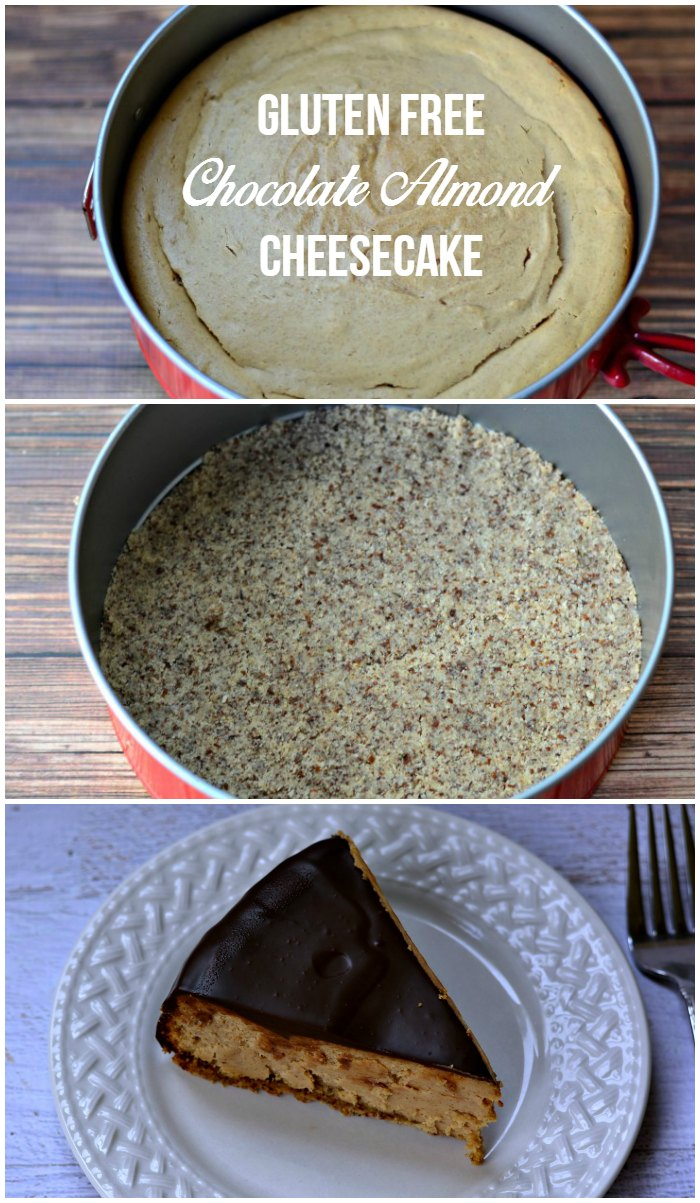 Enjoy a gluten free cheesecake made with almond butter and covered in chocolate! | GrowingUpGabel.com