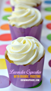 Lavender Cupcakes with Orange Frosting