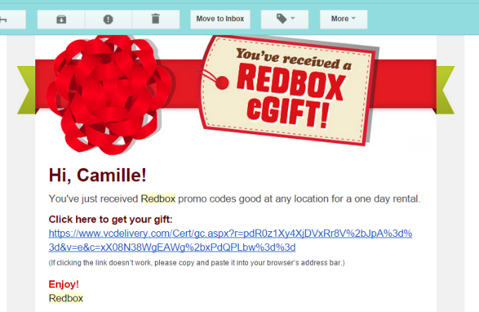 Redbox Email with Codes