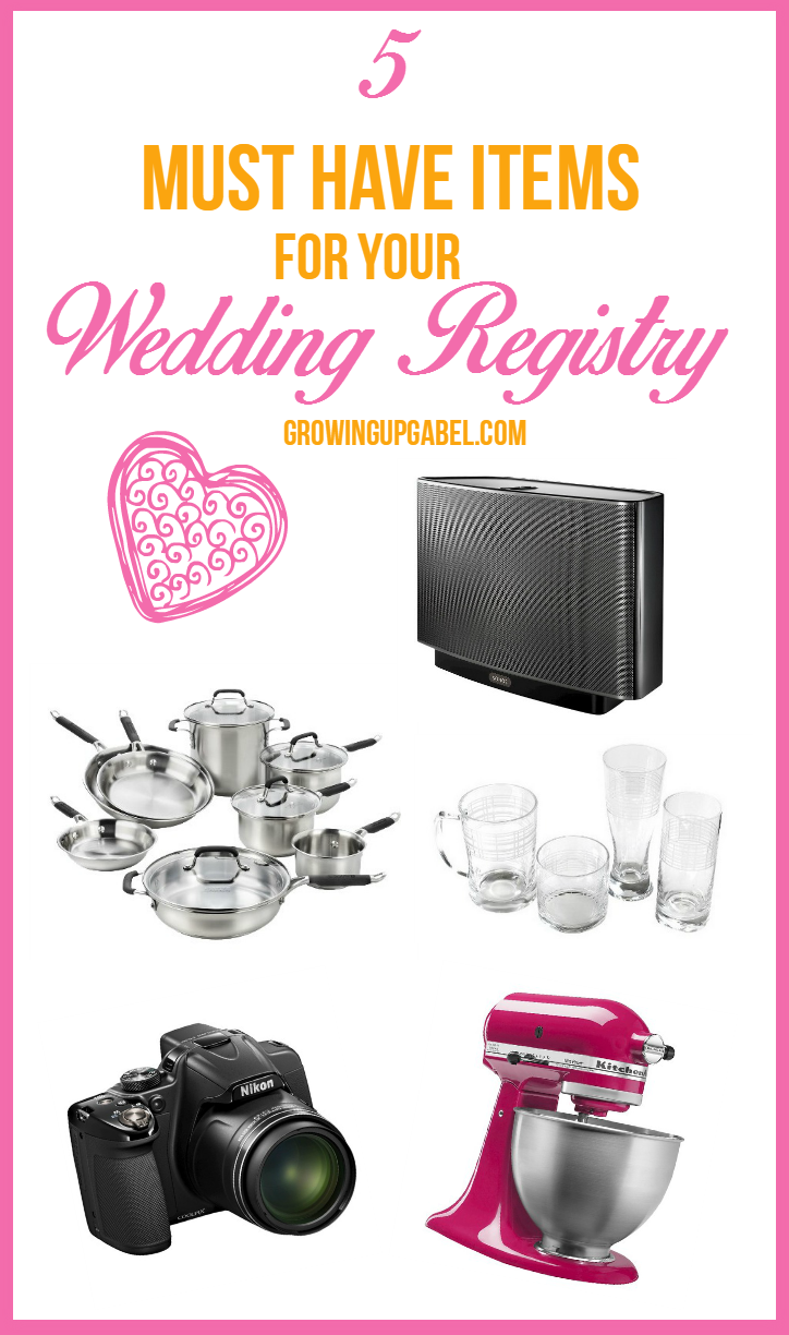 5 must have items for a wedding registry for Things to put on wedding registry