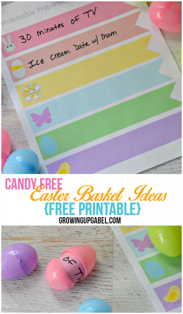 Add some candy free treats to Easter baskets with these free printables!