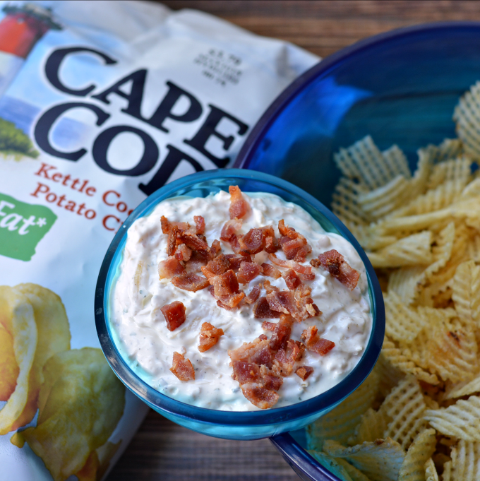 homemade chip dip with bacon on top