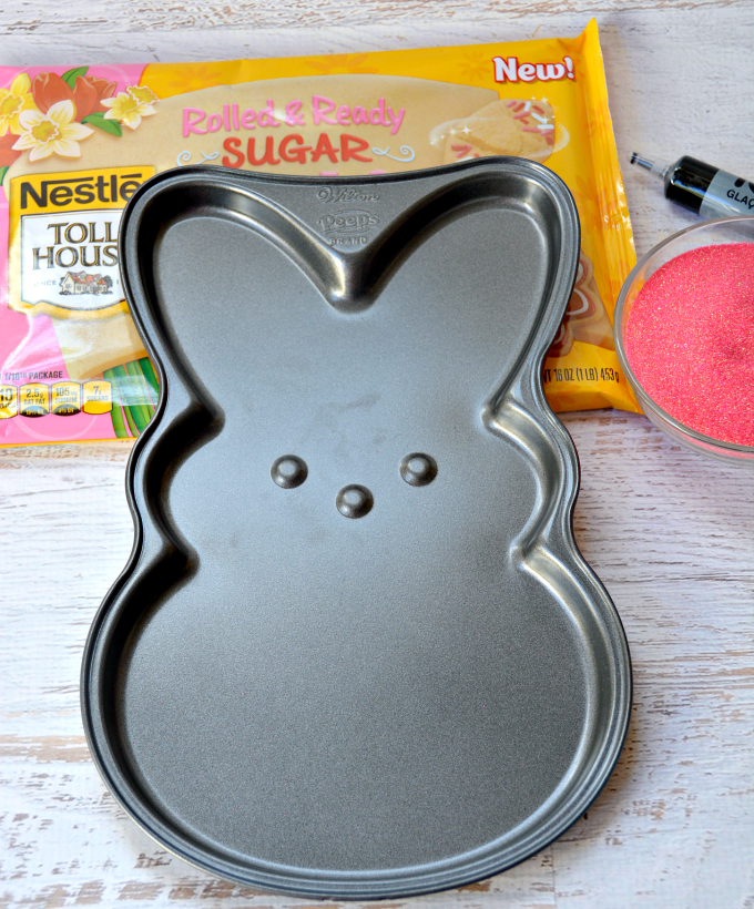 Love Peeps? Make a Peeps Cookie Cake in under 30 minutes with a cute Peeps cookie pan and pre-made sugar cookie dough!