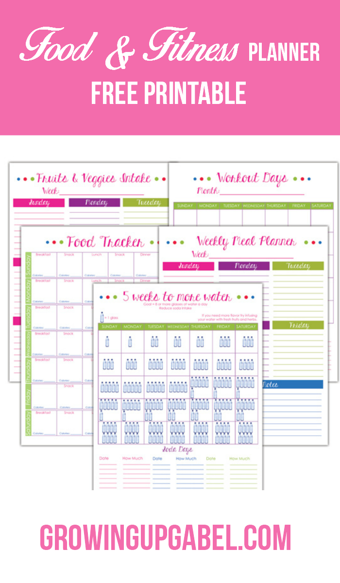 "Need help avoiding ""hanger""? Print this free fitness and food planner to help plan meals, track food and water, schedule work outs and more!"