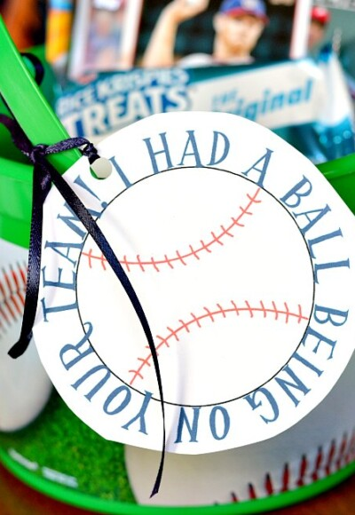 Print out this baseball printable to make a sports team gift for your little slugger's baseball team
