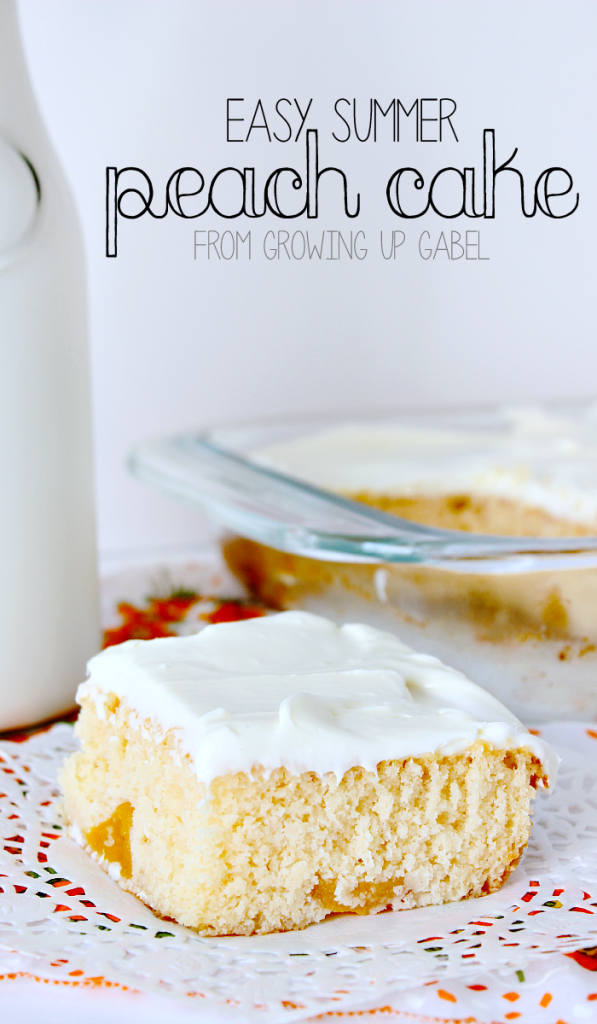 Whip up this easy summer peach cake with cake mix! Use fresh or canned peaches for this homemade dessert recipe. This is the perfect end to a summer meal!