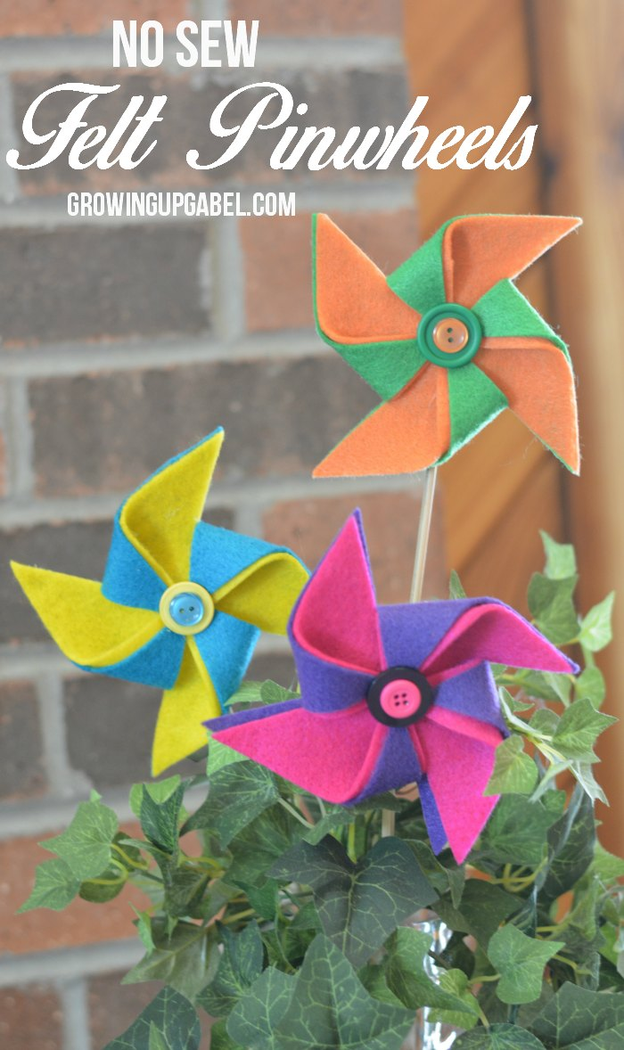 A few sheets of colorful felt, glue and buttons are all you need to make this no sew felt pinwheel perfect for spring decorating.